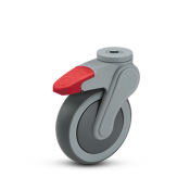 Avant 5-inch swivel caster with hollow kingpin and global total lock plate